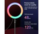 Кольцевой свет со стойкой Puluz PKT3081B RGBWW 26см (20W)