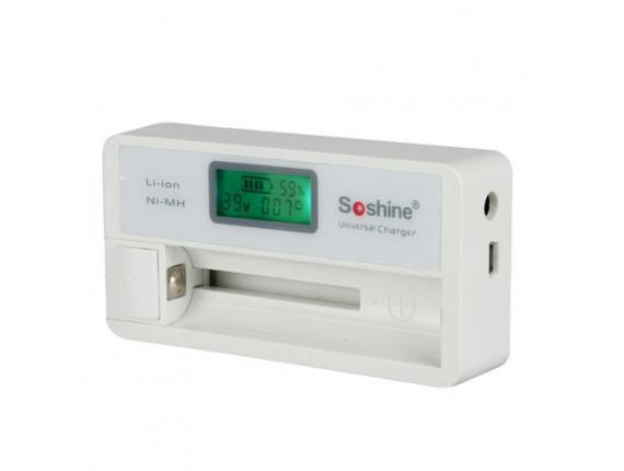 Зарядное устройство Soshine Universal для AA/AAA/14500/18650/RCR123, 1 ячейка SC-S7