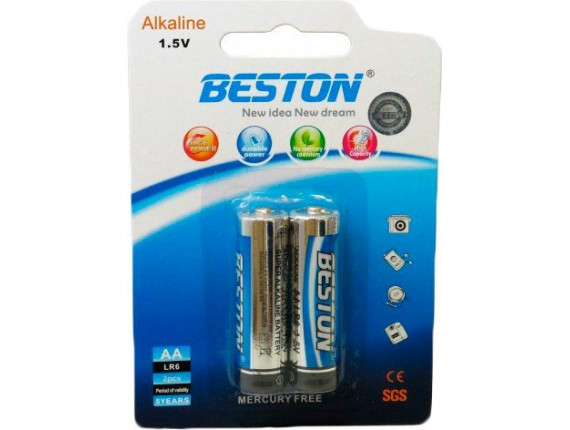 Батарейка Beston AA 1.5V Alkaline, 2шт (AAB1830)