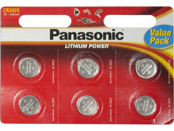 Батарейка Panasonic CR2025 Lithium, 6шт. (CR-2025EL/6BW)