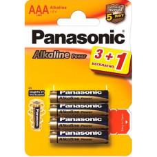 Батарейка Panasonic ALKALINE POWER AAA BLI 4 (3+1) (LR03REB/4B1F)