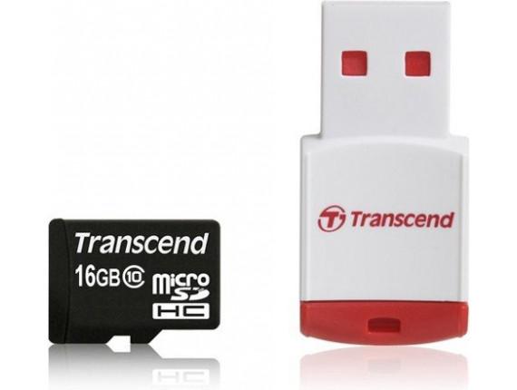 Карта памяти Transcend microSDHC 16GB Class 10 + картридер P3 (TS16GUSDHC10-P3)