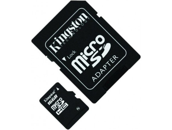 Карта памяти Kingston microSDHC 16GB Class 4 + SD адаптер (SDC4/16GB)