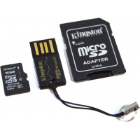 Карта памяти Kingston microSDHC 16GB Class 10 + SD адаптер + USB картридер (MBLY10G2/16GB)