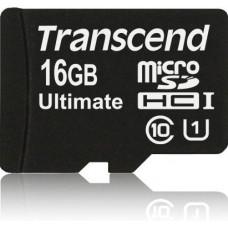 Карта памяти Transcend microSDHC 16GB Class 10 UHS-I Ultimate + SD адаптер (TS16GUSDHC10U1)