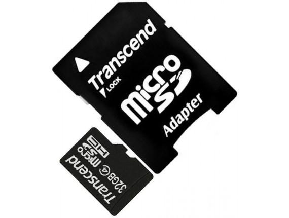 Карта памяти Transcend microSDHC 32GB Class 4 + SD адаптер (TS32GUSDHC4)