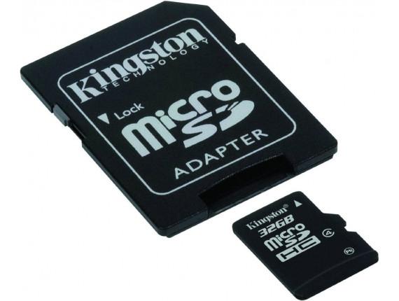 Карта памяти Kingston microSDHC 32GB Class 4 + SD адаптер (SDC4/32GB)