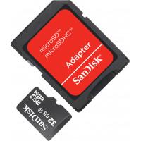 Карта памяти Sandisk microSDHC 32GB Class 4 + SD адаптер (SDSDQM-032G-B35A)