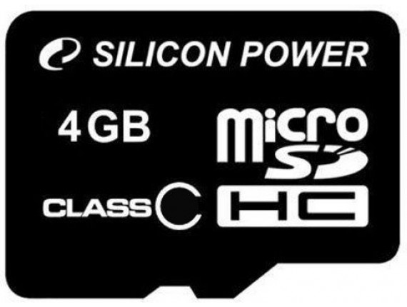 Карта памяти Silicon Power microSDHC 4GB Class 4 без адаптера (SP004GBSTH004V10)