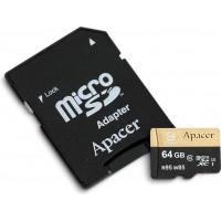 Карта памяти Apacer microSDHC 64GB Class10 UHS-I U3 + SD адаптер (AP64GMCSX10U4-R)