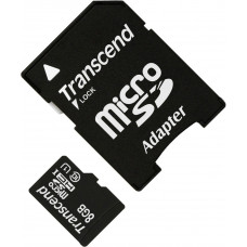 Карта памяти Transcend microSDHC 8GB Class 10 UHS-I + SD адаптер (TS8GUSDU1)