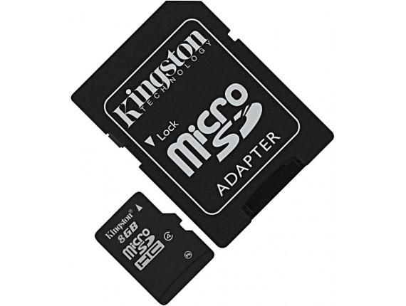 Карта памяти Kingston microSDHC 8GB Class 4 + SD адаптер (SDC4/8GB)