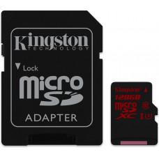 Карта памяти Kingston microSDXC 128GB Class 10 UHS-I U3 + SD адаптер (SDCA3/128GB)
