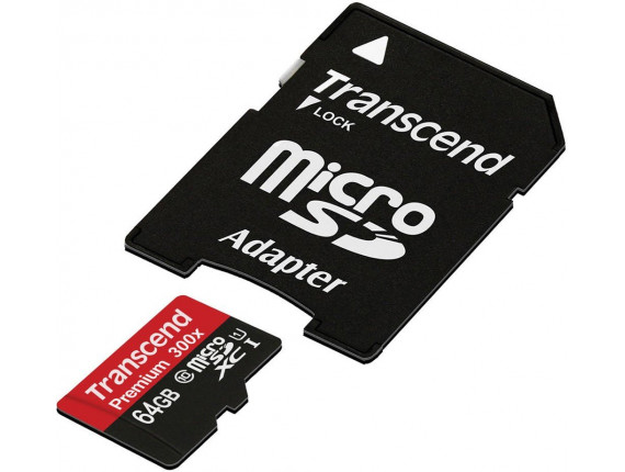 Карта памяти Transcend microSDXC 64GB Class 10 300x UHS-I + SD адаптер (TS64GUSDU1)