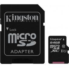 Карта памяти Kingston microSDXC 64GB Class 10 Gen.2 + SD адаптер (SDC10G2/64GB)