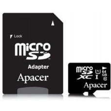 Карта памяти Apacer microSDXC 64GB Class 10 UHS-I + SD адаптер (AP64GMCSX10U1-R)