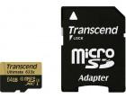 Карта памяти Transcend microSDXC 64GB Class 10 UHS-I U3 Ultimate + SD адаптер (TS64GUSDU3)