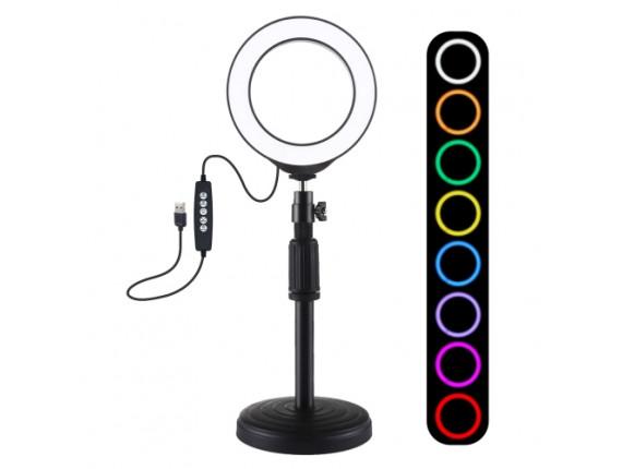 Кольцевой свет со стойкой Puluz PKT3046B RGB Ring Light 12см (9W)