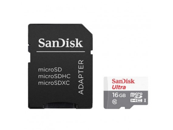 Карта памяти SanDisk Ultra microSDHC UHS-I 16GB + SD-adapter (SDSQUNB-016G-GN3MN)