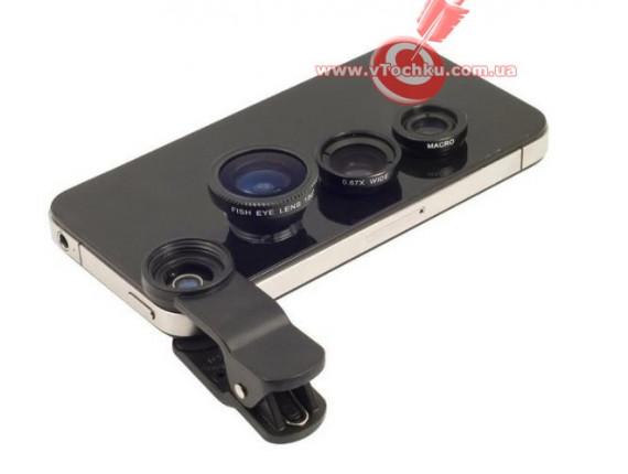Объектив для телефона iLens Clip 3 in 1 black